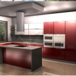 indywidualne projekty mebli kuchennych, kuchnie czerwone, kuchnie design
