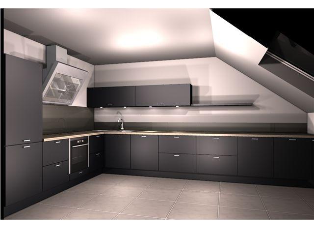 Aranżacje kuchni na poddaszu, projekt kuchni łódż, pomysl   # Kuchnie Na Poddaszu Nowoczesne